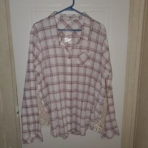 Shyanne Button Down plaid top with crochet inlay